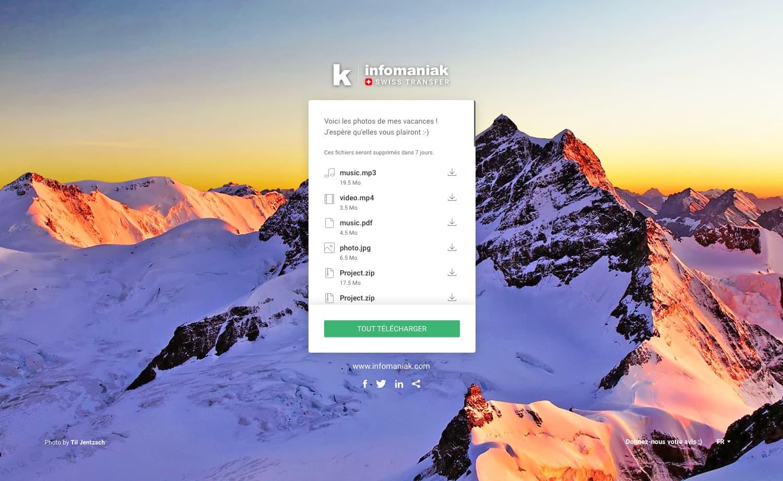 Swisstransfer Infomaniak - Réception des fichiers